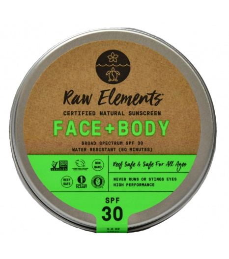 FACE + BODY sunscreen SPF30 (tin - plastic free): Raw Elements USA