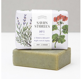 BALANCING BAR SOAP n°1 (green clay) with lavender, patchouli & rose geranium: Savon Stories