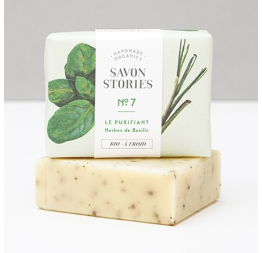 N°7 BASIL HERBS COOKS BAR SOAP with lemongrass, basil & rosemary: Savon Stories