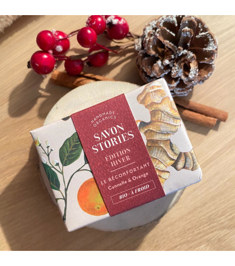 """WINTER EDITION"" organic bar soap with orange, cinnamon and ginger: Savon Stories"