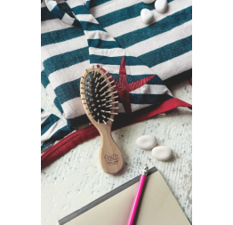 Small purse brush in natural wood: Tek