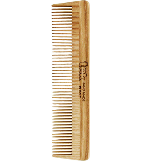 Small comb with thick teeth in natural wood: Tek